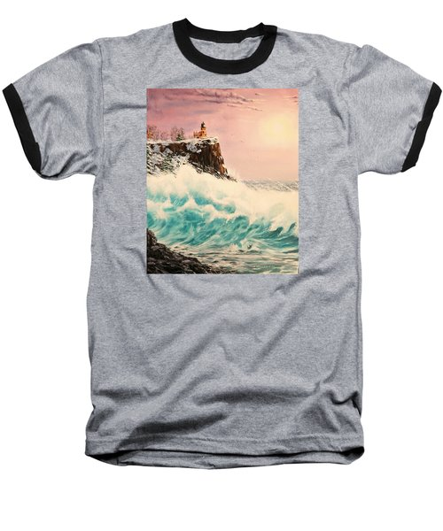 Wintery Northern Lighthouse  Baseball T-Shirt
