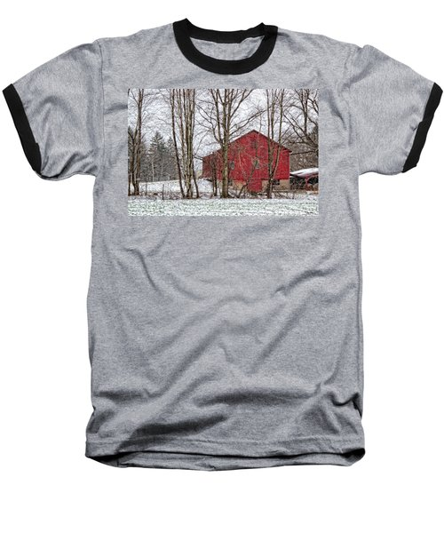 Wintry Barn Baseball T-Shirt