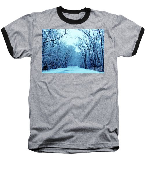 Wisconsin Frosty Road In Winter Ice Baseball T-Shirt