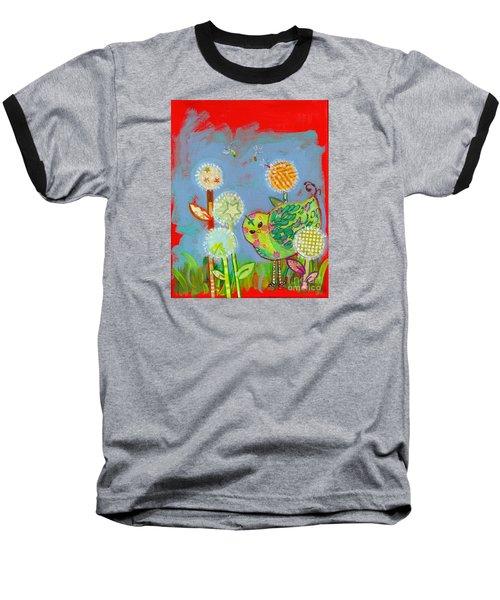 Wishful Thinking Birdy Baseball T-Shirt by Shelley Overton