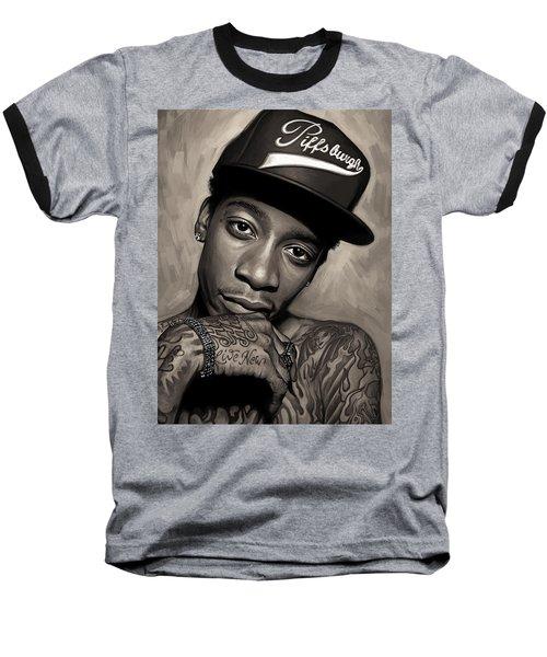 Baseball T-Shirt featuring the painting Wiz Khalifa Artwork  by Sheraz A