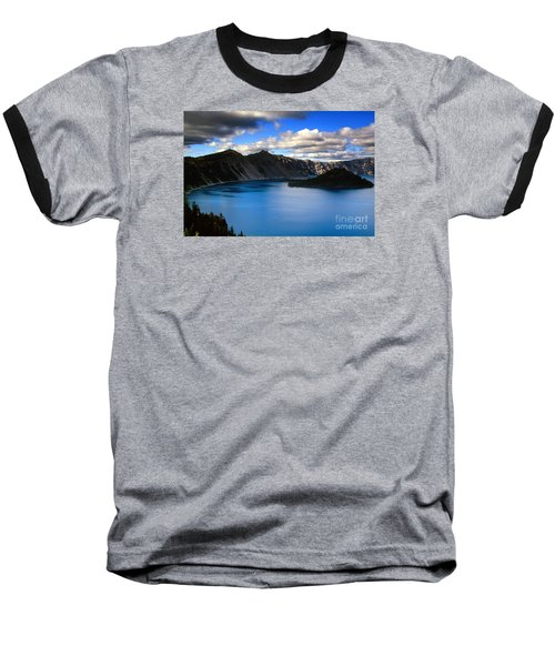 Wizard Island Stormy Sky- Crater Lake Baseball T-Shirt
