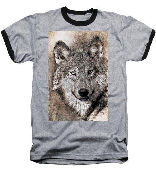 Nature Baseball T-Shirt featuring the digital art Wolf  by Aaron Berg