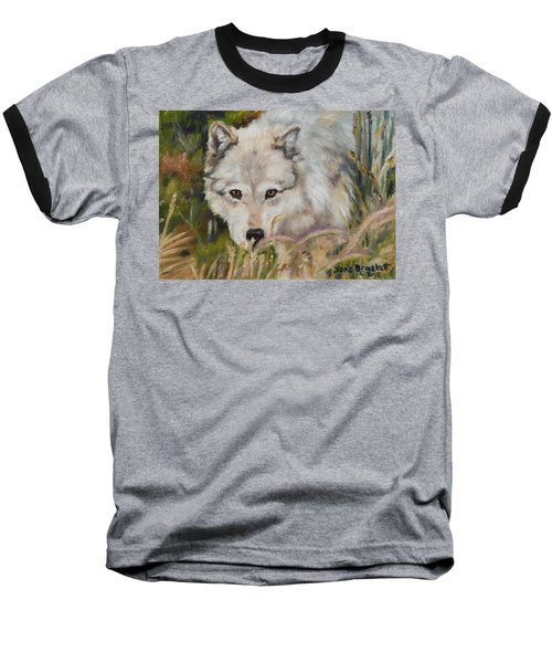 Wolf Among Foxtails Baseball T-Shirt by Lori Brackett