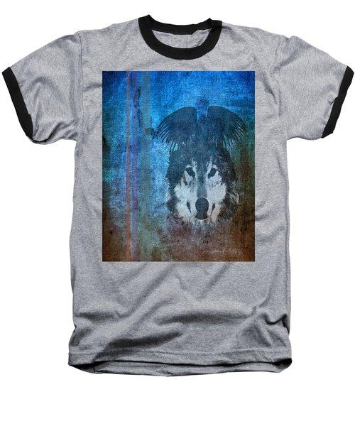 Wolf And Raven Baseball T-Shirt by Thomas M Pikolin
