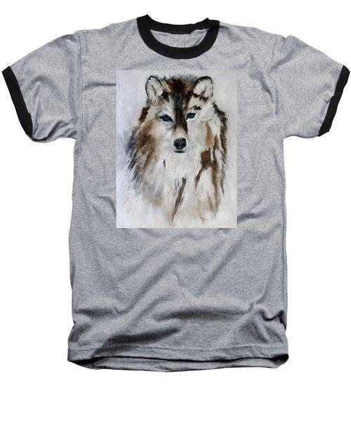 Wolf - Blue Star Baseball T-Shirt by Barbie Batson