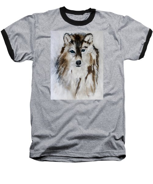 Wolf - Blue Star Baseball T-Shirt