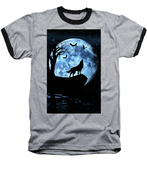 Wolf Howling At Full Moon With Bats Baseball T-Shirt by Justin Kelefas