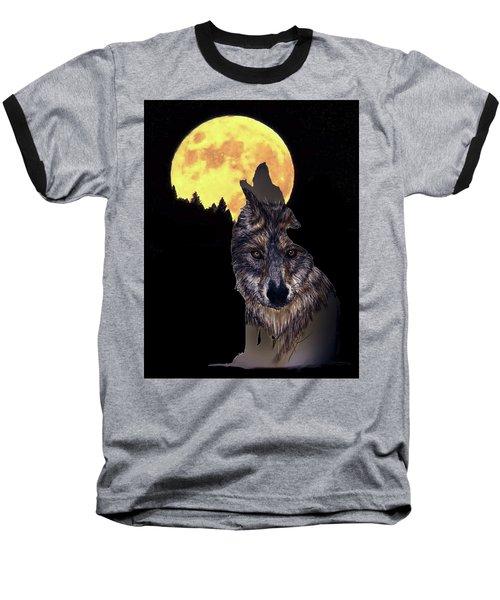 Wolf Howling At The Moon Baseball T-Shirt