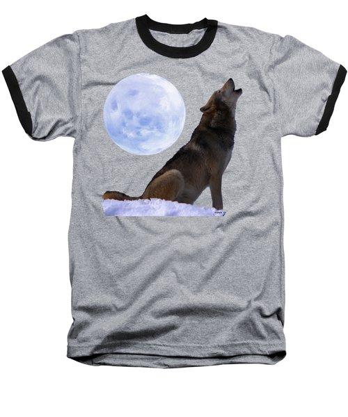 Wolf Howling Baseball T-Shirt by EricaMaxine  Price