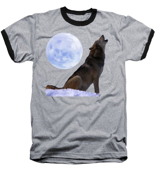Baseball T-Shirt featuring the photograph Wolf Howling by Ericamaxine Price