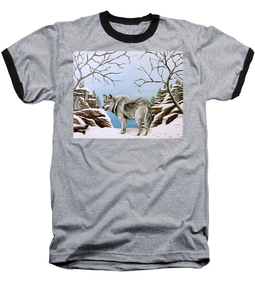 Baseball T-Shirt featuring the painting Wolf In Winter by Teresa Wing