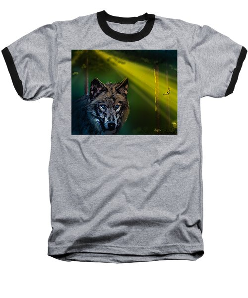 Wolf Of The Dark Wood Baseball T-Shirt by J Griff Griffin