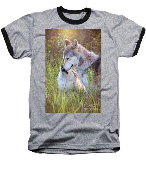 Wolf Soul Mates Baseball T-Shirt