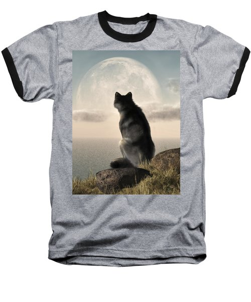 Wolf Watching The Moonrise Baseball T-Shirt