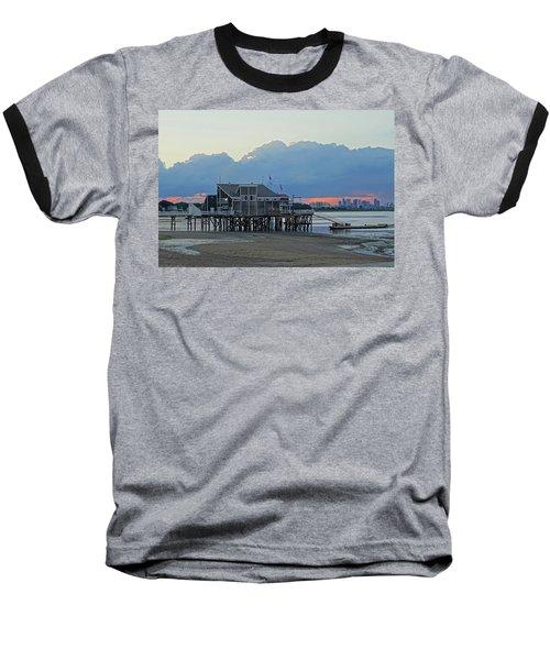Wollaston Beach Quincy Ma Sunset Boston Skyline Quincy Ma Baseball T-Shirt