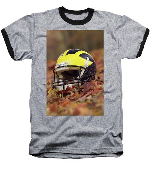 Wolverine Helmet In October Leaves Baseball T-Shirt