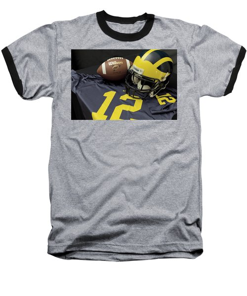 Wolverine Helmet With Football And Jersey Baseball T-Shirt