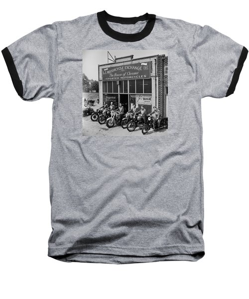Baseball T-Shirt featuring the photograph The Motor Maids Of America Outside The Shop They Used As Their Headquarters, 1950. by Lawrence Christopher