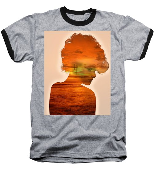 Woman And A Sunset Baseball T-Shirt