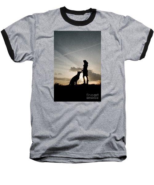 Woman And Dog  Baseball T-Shirt