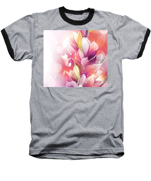 Woman And Flowers Baseball T-Shirt