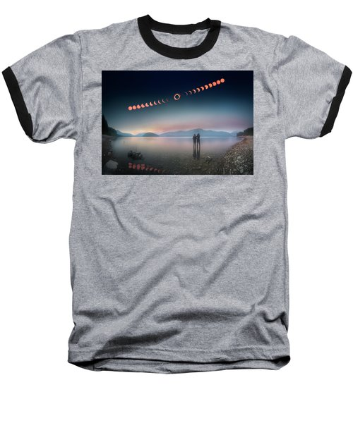 Woman And Girl Standing In Lake Watching Solar Eclipse Baseball T-Shirt