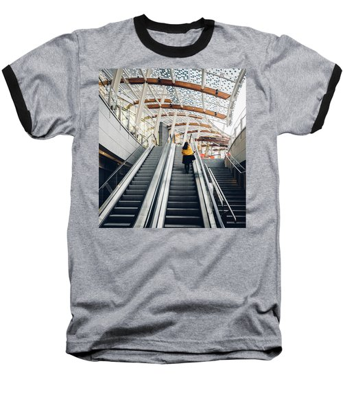 Woman Going Up Escalator In Milan, Italy Baseball T-Shirt