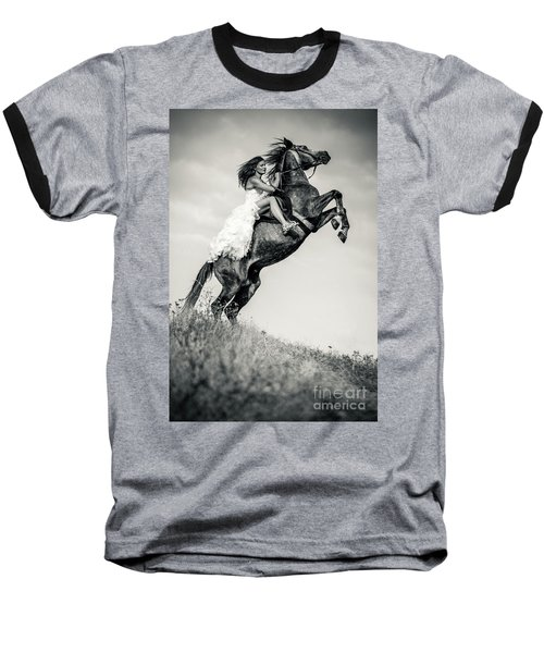 Baseball T-Shirt featuring the photograph Woman In Dress Riding Chestnut Black Rearing Stallion by Dimitar Hristov