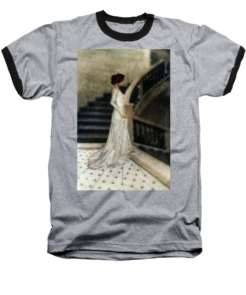 Woman In Lace Gown On Staircase Baseball T-Shirt by Jill Battaglia