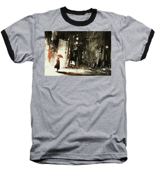 Woman In The Destroyed City Baseball T-Shirt