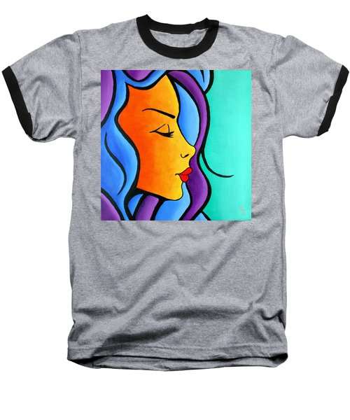 Baseball T-Shirt featuring the painting Woman Of Color, Eyes Closed by Bob Baker