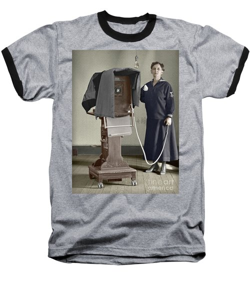 Baseball T-Shirt featuring the photograph Woman Photographer With Large Camera 1900 by Martin Konopacki Restoration
