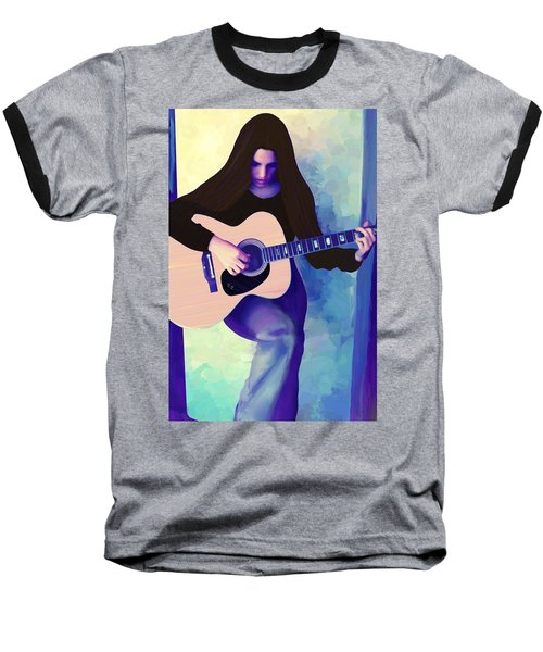 Woman Playing Guitar Baseball T-Shirt