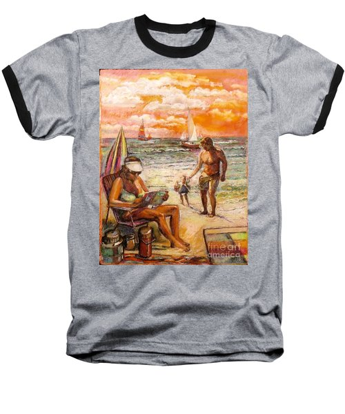 Woman Reading On The Beach Baseball T-Shirt