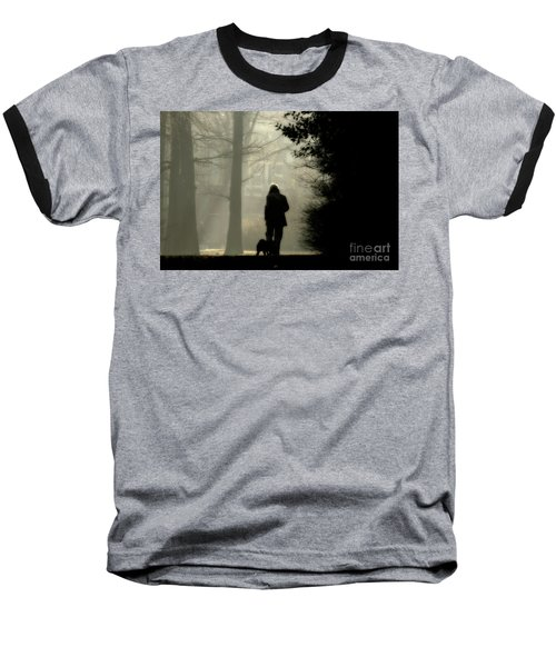 Baseball T-Shirt featuring the photograph Woman Walking Dog by Patricia Hofmeester