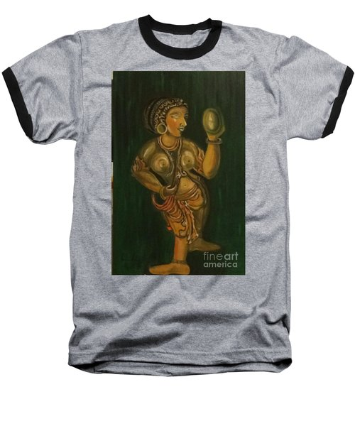 Woman With A Mirror Sculpture Baseball T-Shirt by Brindha Naveen