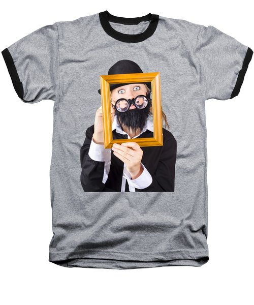 Baseball T-Shirt featuring the photograph Woman With Empty Picture Frame by Jorgo Photography - Wall Art Gallery