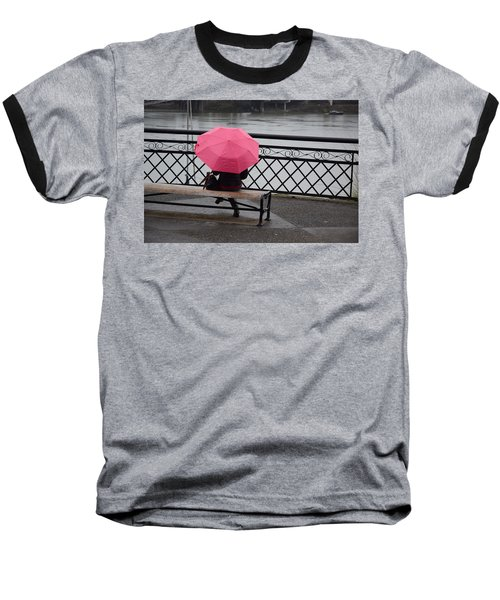 Woman With Pink Umbrella. Baseball T-Shirt