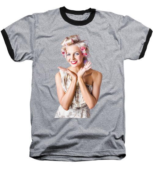 Woman With Rollers In Hair Baseball T-Shirt