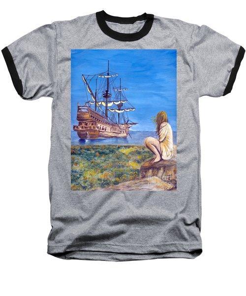 Woman With Spanish Ship Baseball T-Shirt
