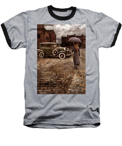 Woman With Umbrella By Vintage Car Baseball T-Shirt