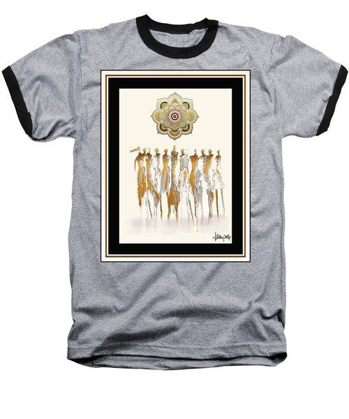 Women Chanting Mandala Baseball T-Shirt
