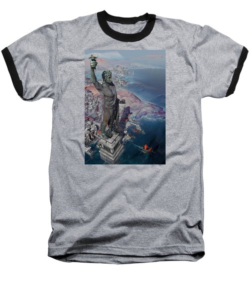 Baseball T-Shirt featuring the digital art wonders the Colossus of Rhodes by Te Hu