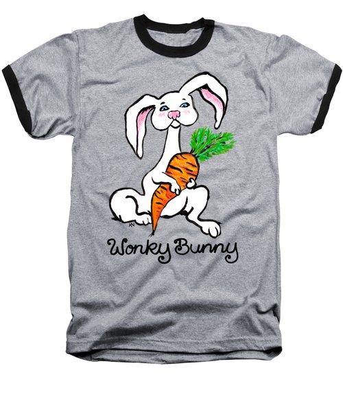 Wonky Bunny Carrot Baseball T-Shirt by Katherine Nutt