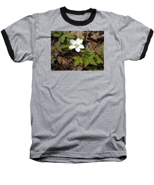 Baseball T-Shirt featuring the photograph Wood Anemone by Linda Geiger