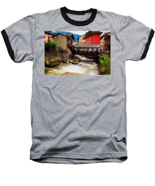 Wood Bridge On The River Baseball T-Shirt