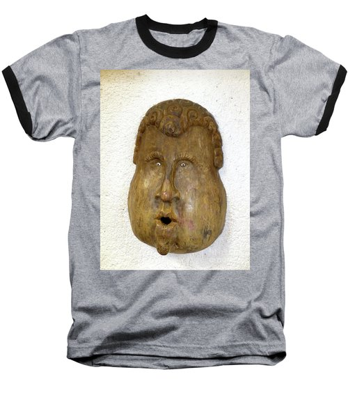 Baseball T-Shirt featuring the photograph Wood Carved Face by Francesca Mackenney
