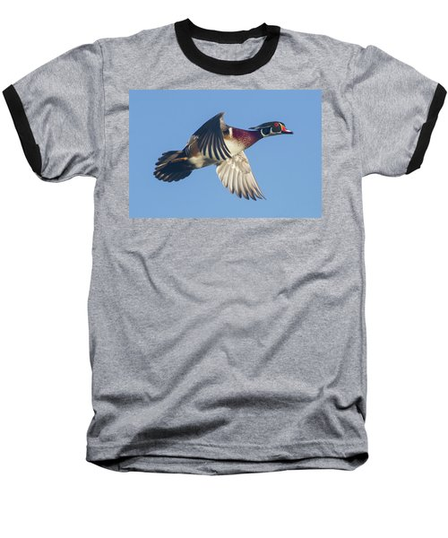 Wood Duck Flying Fast Baseball T-Shirt