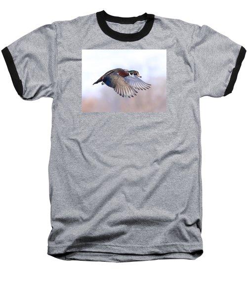 Wood Duck In Flight Baseball T-Shirt by Lynn Hopwood